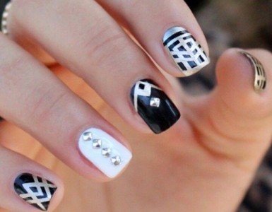 black and white nail design idea with studs
