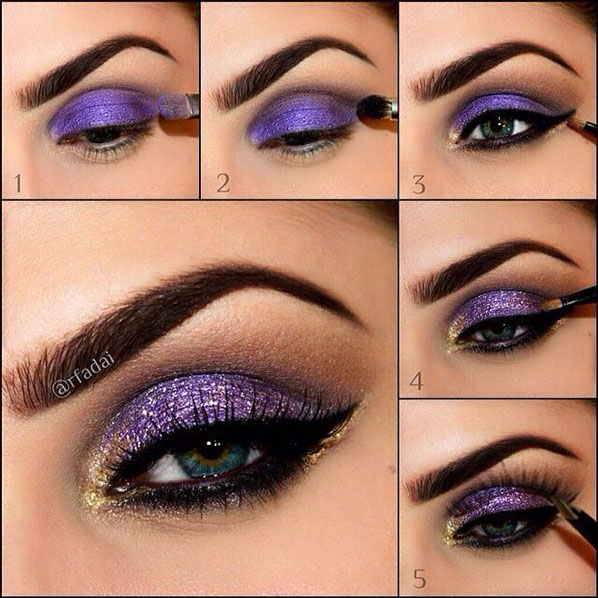 Glitter Purple Makeup Idea