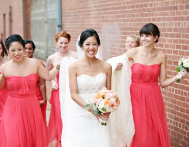 Watermelon-Colored-Strapless-Bridesmaids-Dresses-600x400