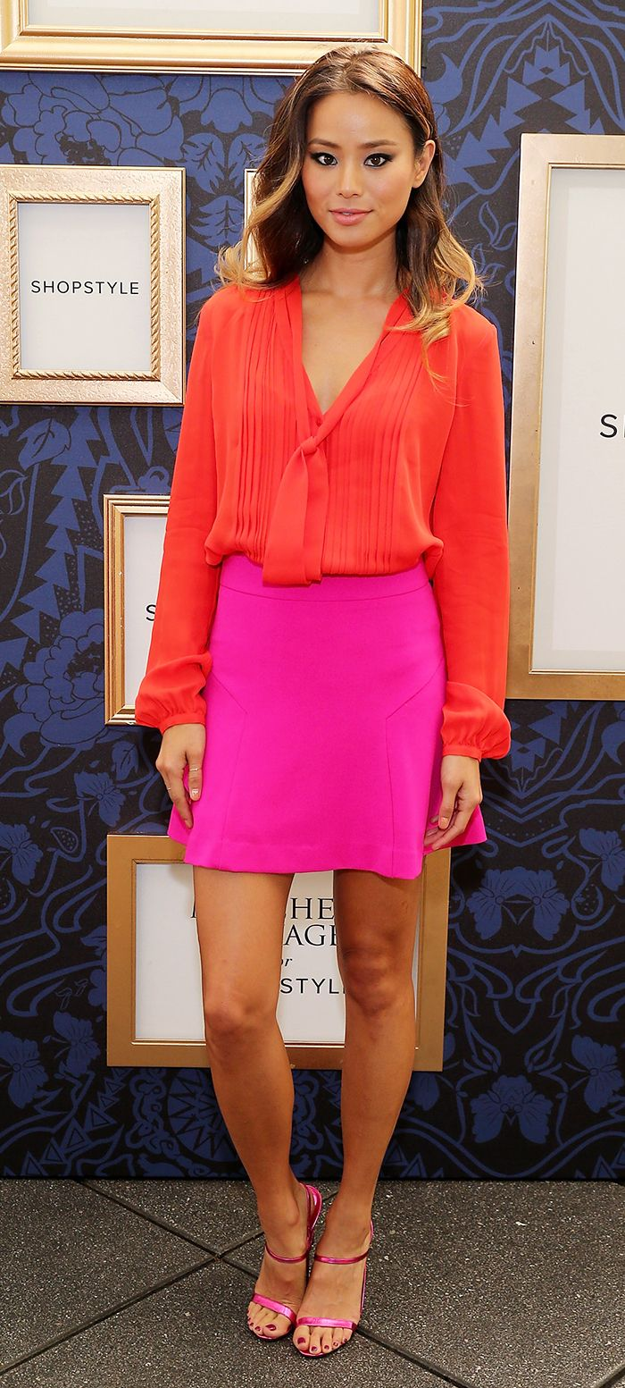 Fashion and beauty talk bold color blocking outfit ideas Red and pink colour combination
