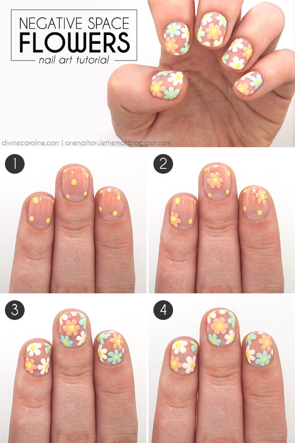 14 wonderful floral nail designs to try this spring negative space flowers nail art tutorial solutioingenieria Image collections