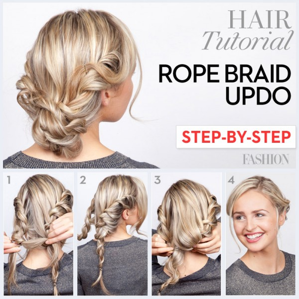 12 great step by step updo hair tutorials rope braid updo hair tutorial pmusecretfo Image collections
