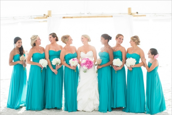7 spring wedding colors for bridesmaid dresses for Turquoise bridesmaid dresses for beach wedding