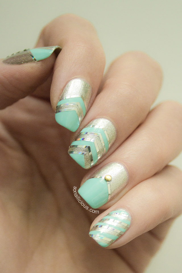 Lovely mint nail designs to draw inspirationfrom mint and gold nail design prinsesfo Gallery