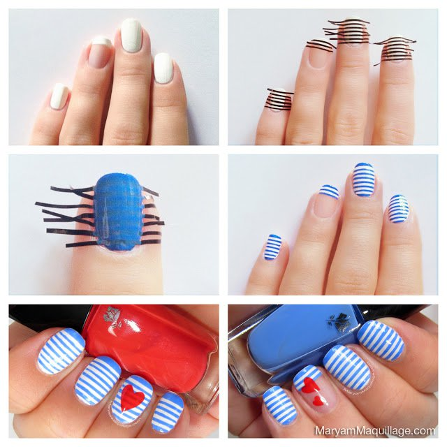 10 Interesting Step By Step Striped Nail Tutorials