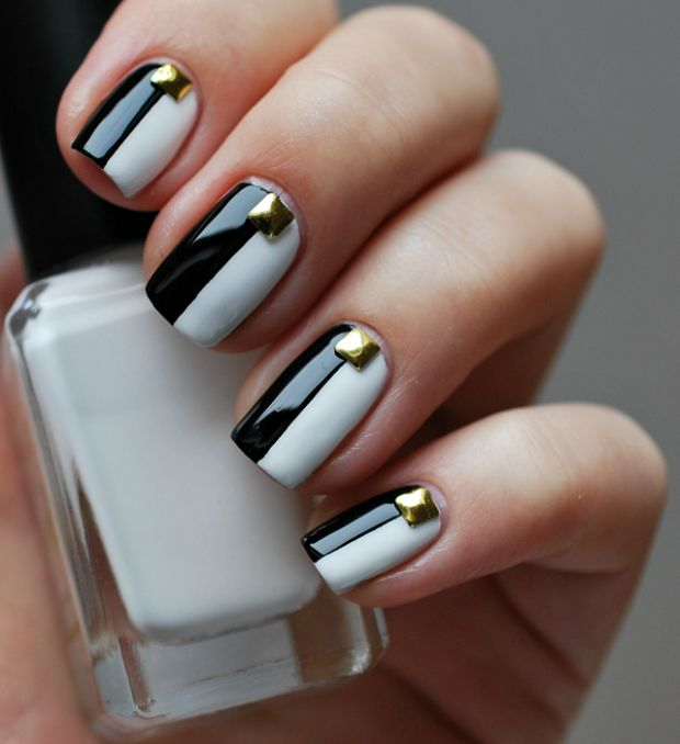 Half Black and Half White Nail Design With Gold Studs - Interesting Black And White Nail Designs