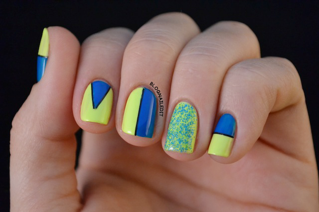 Eye catching summer neon nail designs neon yellow and blue nail design prinsesfo Choice Image
