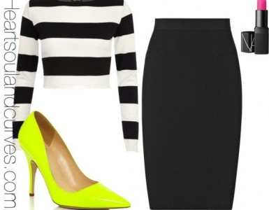 striped crop top black pencil skirt and neon heels