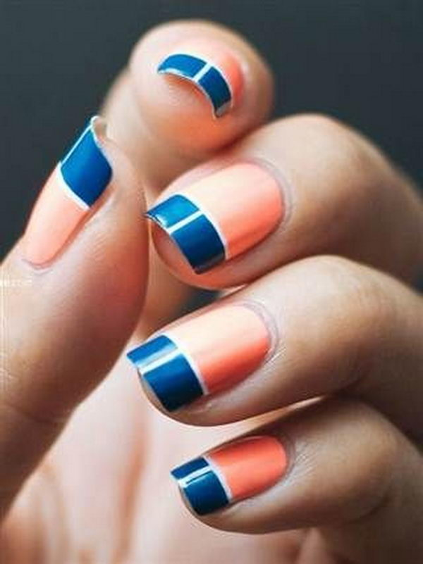 15 coral nail designs to draw inspiration from color blocked navy and coral nail design prinsesfo Gallery