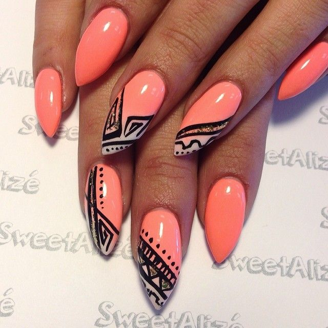 15 impressive summer stiletto nail designs coral stiletto nail design prinsesfo Gallery