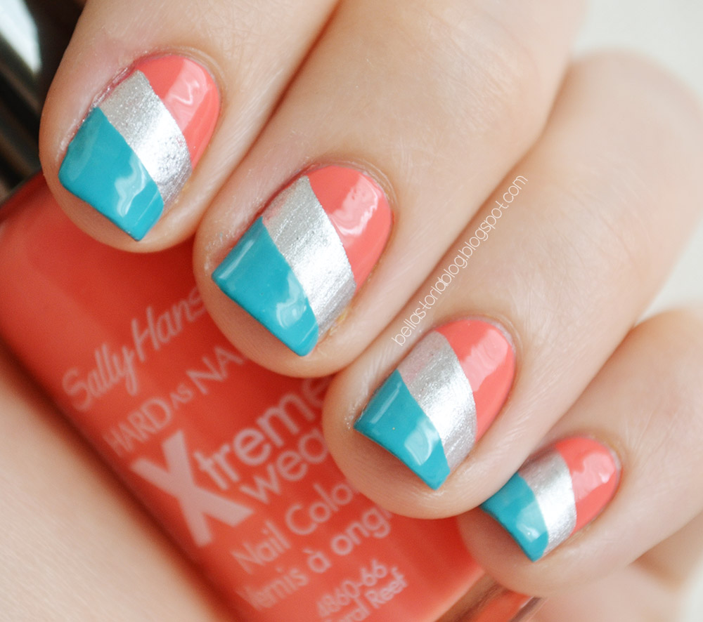 Blue, Silver and Coral Nail Design - 15 Coral Nail Designs To Draw Inspiration From