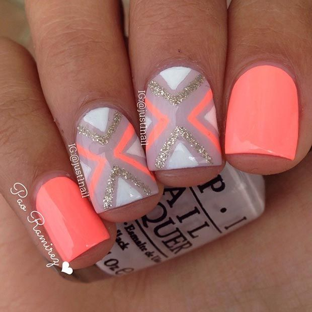 Interesting Coral Nail Design - 15 Coral Nail Designs To Draw Inspiration From