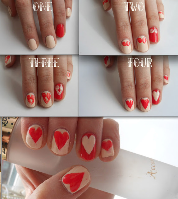 two tone heart nail design