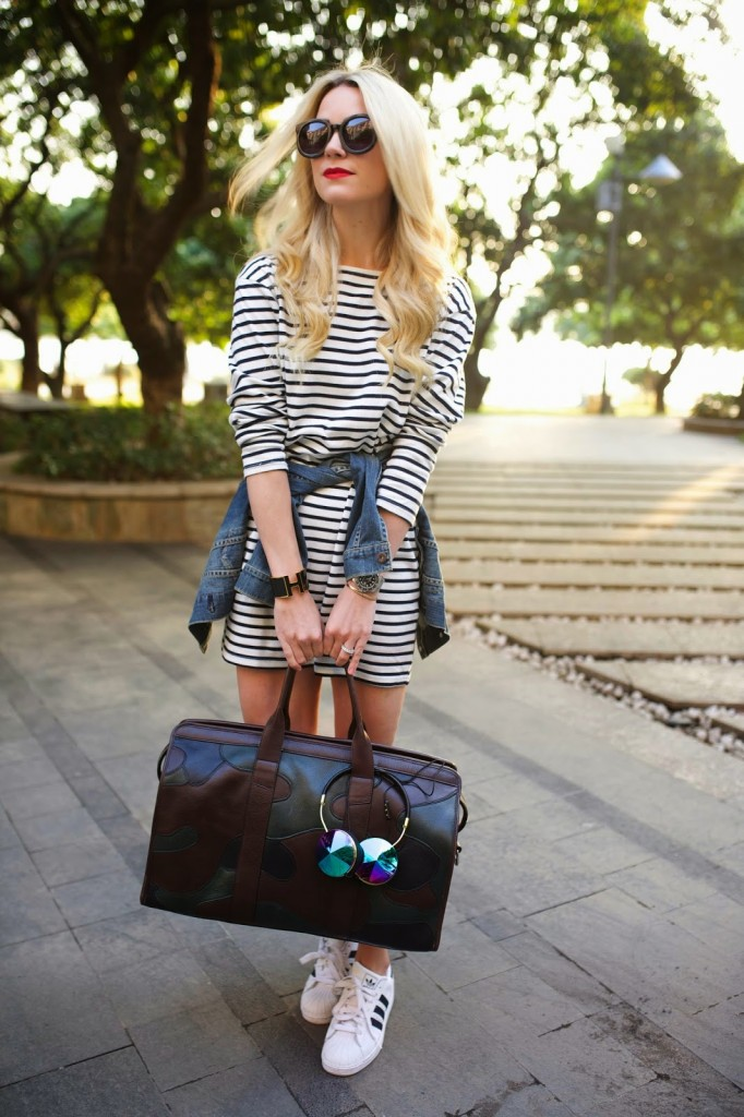 striped dress and sneakers