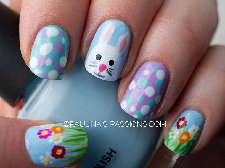 easter nails - Cute Bunny And Greens Easter Nails. Spring Flowers Spring Nail Art