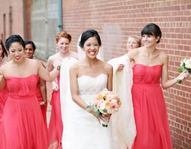 Watermelon-Colored-Strapless-Bridesmaids-Dresses-600x400
