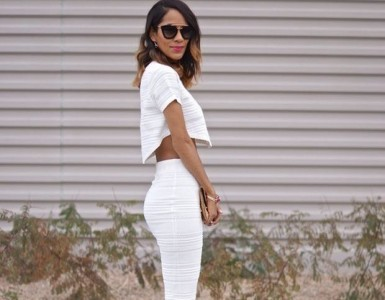 a crop top and a pencil skirt