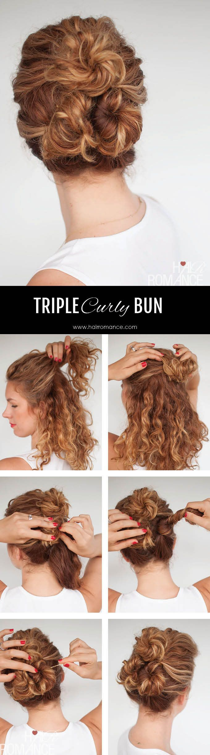 triple curly buns