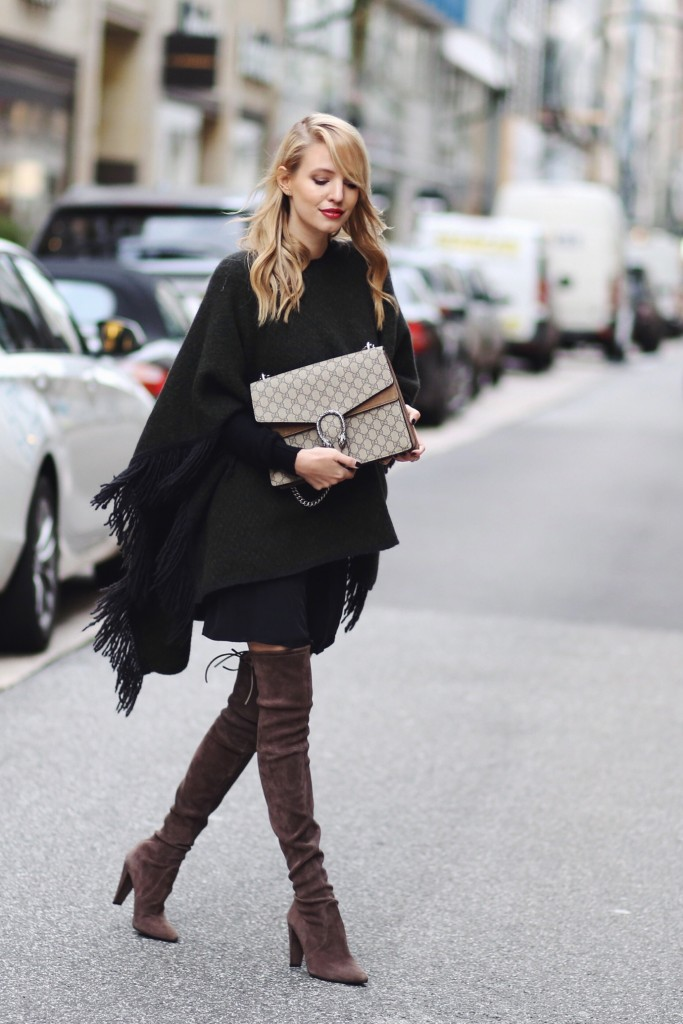 fringe poncho over the knee boots