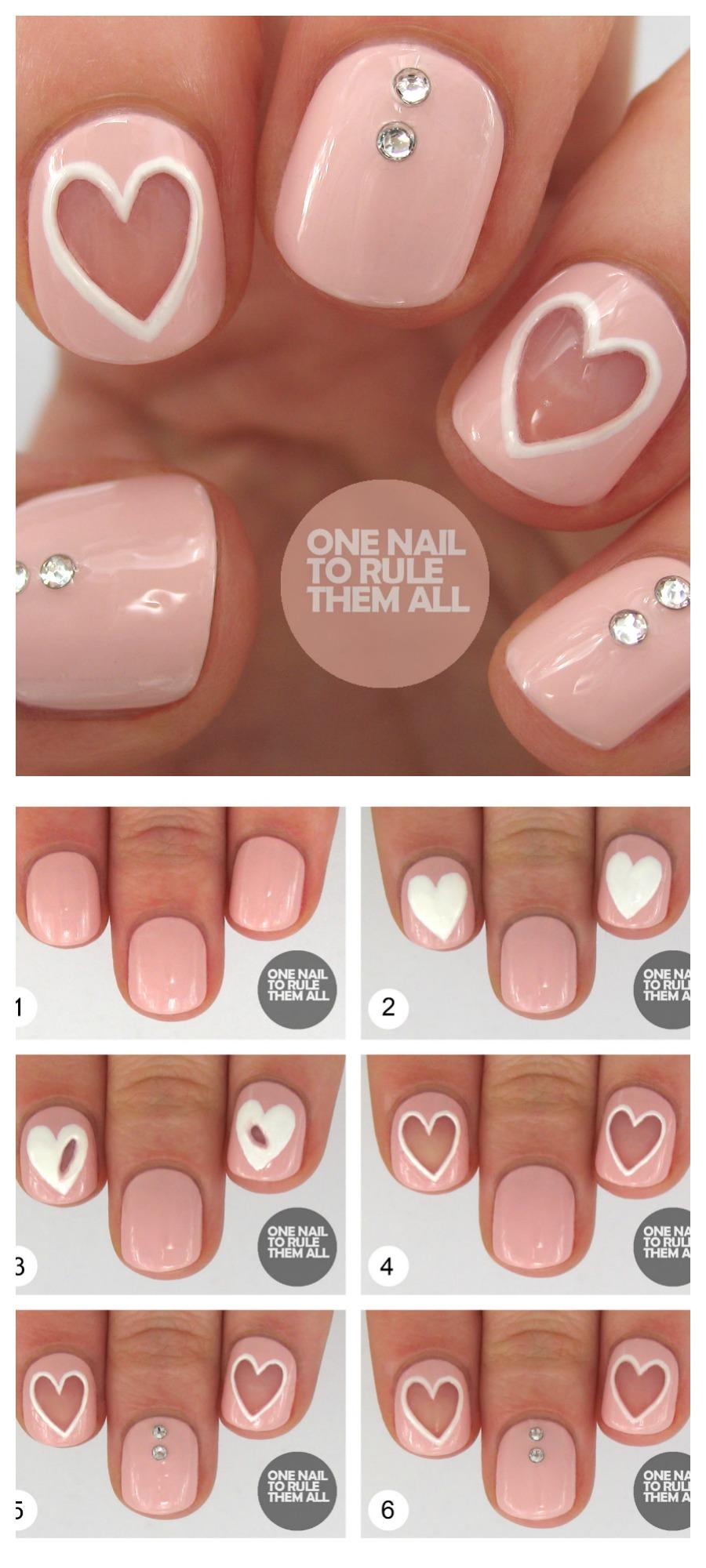 heart nail design