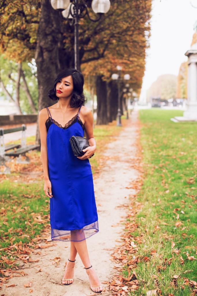 royal blue slip dress